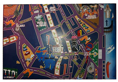 Cuadro mural de las calles del centro de Huelva y situación de Óptica Santa Otilia